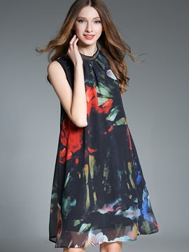 Ericdress Vintage Floral Bead Sleeveless Casual Dress