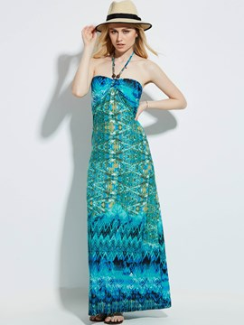Ericdress Strapless Geometric Pattern Backless Maxi Dress