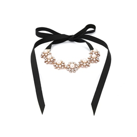 Ericdress Bowtie Diamante Pearl Choker for Women