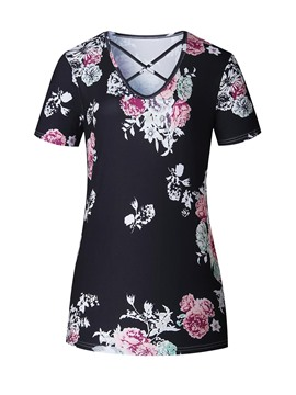 Ericdress Cross Straps Floral Print T-Shirt
