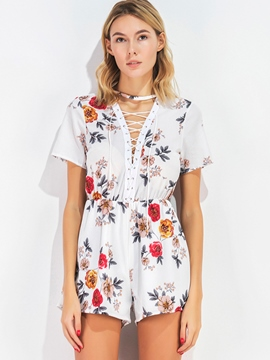 Ericdress V-Neck White Flower Print Women's Jumpsuits