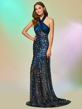Ericdress Halter Empire Sequin Backless Mermaid Reflective Evening Dress