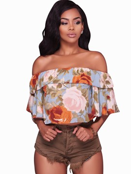 Ericdress Off Shoulder Falbala Crop Blouse