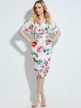 Ericdress Slash Neck Floral Print Bodycon Dress