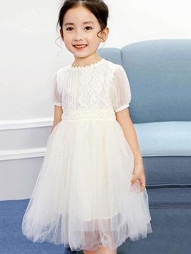 Ericdress Mesh Lace Lantern Sleeve 3-8Y Girls Tutu Dress