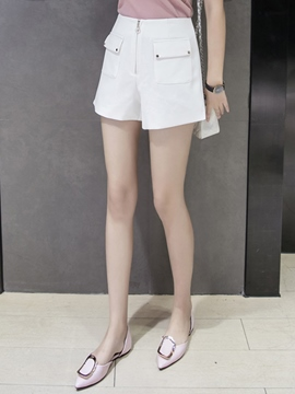 Ericdress High-Waist Zipper Pocket Shorts Pants
