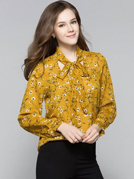Ericdress Floral Print Bow Tie Chiffon Blouse