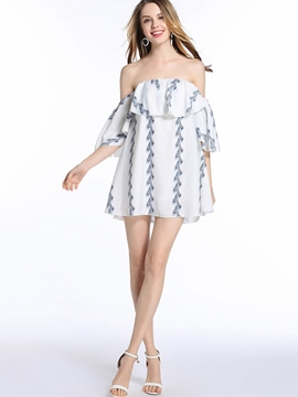 Ericdress Print Strapless Ruffles-TrimAbove Knee Casual Dress