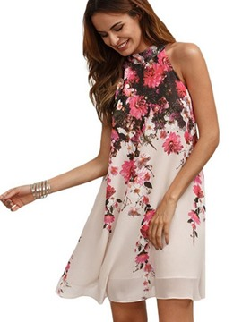 Ericdress Floral Stand Collar Sleeveless Chiffon Casual Dress