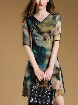 Ericdress Vintage Print Qipaos Style V-Neck Casual Dress