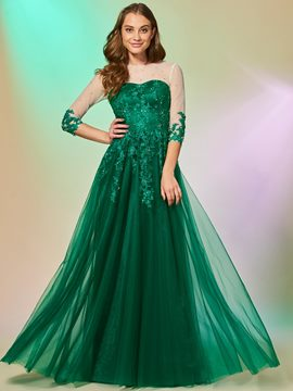 Ericdress A Line Half Sleeve Applique Beaded Long Prom Dress