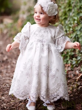 Ericdress Luxury Beading Bowknot Infant Baby Girls Christening Gown with Headpiece