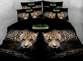 Symmetric Leopards Printed Cotton 4-Piece Black 3D Bedding Sets/Duvet Covers