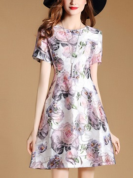 Ericdress Sweet Floral Print Summer A Line Dress