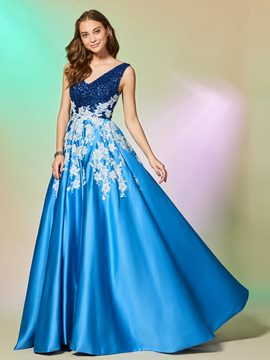 Ericdress A Line V Neck Applique Sequin Evening Dress