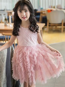 Ericdress Lace Asymmetrical Mesh 1-7Y Girls Tutu Dress