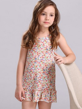 Ericdress Above Knee Flowers Sleeveless Cotton Girls Dress