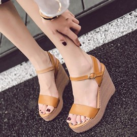 Ericdress Roman PU Platform Open Toe Wedge Sandals