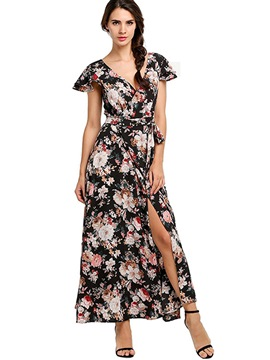 Ericdress V-Neck Print Lace-Up Short Sleeve Maxi Dress