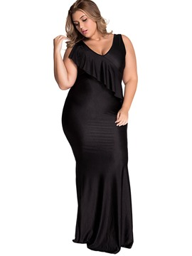 Ericdress V-Neck Ruffles-Trim Plus Size Bodycon Dress