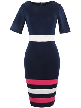 Ericdress Color Block Bottom Stripe Bodycon Dress