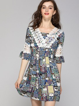 Ericdress Print V-Neck Half Sleeves A Line Dress