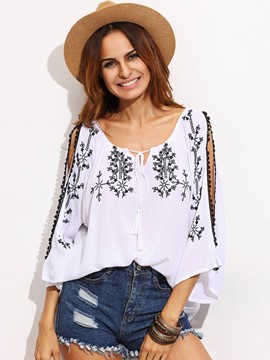 Ericdress Floral Embroidery Loose T-Shirt