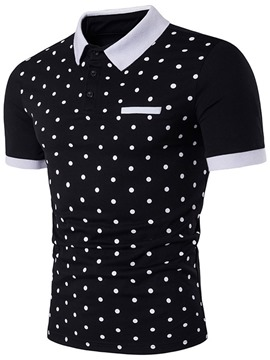 Ericdress Lapel Short Sleeve Polka Dots Men's Polo Shirt