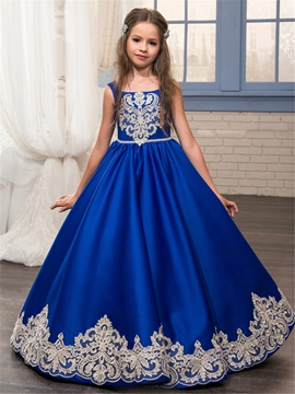 Ericdress Long A-Line Sleeveless Lace Applique Flower Girl Dress