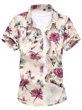 Ericdress Floral Short Sleeve Slim Men's Shirt