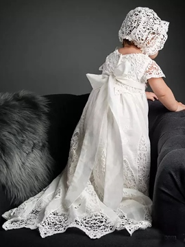 Ericdress Beautiful Bowknot Lace Bonnet Christening Gown for Baby Girls