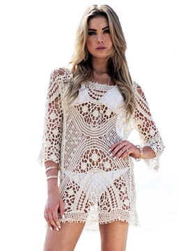 Ericdress Knitting Hollow Embroidery Cover-up