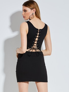 Skinny Plain Backless Lace-Up Women's Jumpsuit