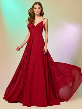 Ericdress A Line Spaghetti Straps Chiffon Backless Long Prom Dress