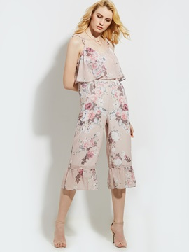 Loose Flower Print Wide Legs Women's Jumpsuit