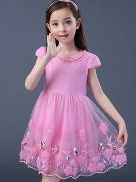 Ericdoress Embroidery Flower Sequins Girls Dress