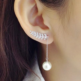 Ericdress High End Asymmetric Diamante Pearl Earring