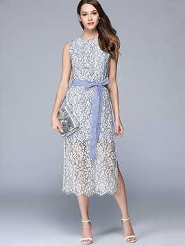 Ericdress Patchwork Bow-Tied Sleeveless Maxi Dress