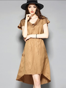 Ericdress European V-Neck Plain High-Low Hem Casual Dress