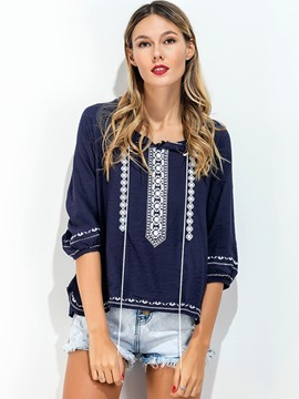 Ericdress Tassel Three-Quarter Comfy Blouse