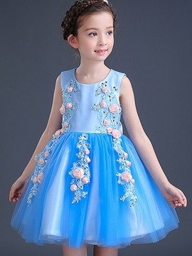 Ericdoress Back Bowknot Appliques Mesh Flower Girls Dress