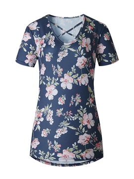 Ericdress Flower Print Comfy T-Shirt