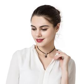 Ericdress Concise Pendant Diamante Black Choker Necklace
