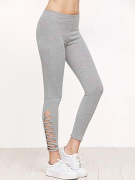Ericdress Mid-Waist Hollow Leggings Pants