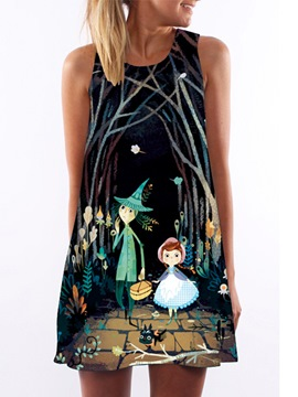 Ericdress Cartoon Crew-Neck Casual Dress