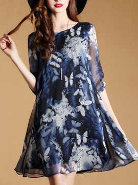 Ericdress Print See-Through 3/4 Sleeve Casual Dress
