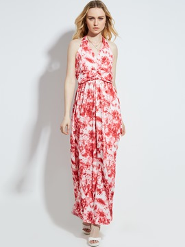 Ericdress V-Neck Floral Print High-Waist Maxi Dress