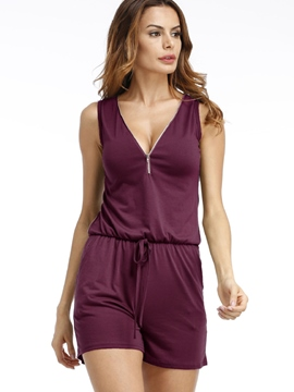 Ericdress V-Neck Sleeveless Pure Color Soft Women's Jumpsuits