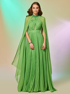 Ericdress A Line Long Sleeve Pleats Long Prom Dress With Beadings