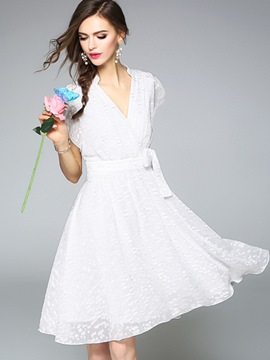 Ericdress V-Neck Ruffle Sleeve Bowknot Expansion Lace Dress